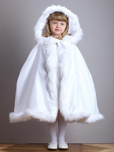 New Arrival Warm Hooded Children's White Satin Flower Girl Wedding Cloak With Faux Fur Trim Tea-Length Winter Kid Long Wraps Jacket