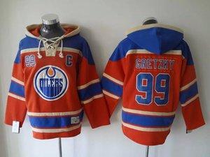 Высочайшее Качество ! Edmonton Oilers Старое Время Хоккейные Майки #99 Уэйн Гретцки Синий Оранжевый Толстовка Пуловер Спортивные Кофты Зимняя Куртка