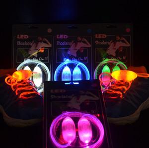 Luz LED parpadeante cordón de zapato de fibra óptica LED cordones luminosos cordones de zapatos de moda tercera generación de la ampolla de la caja LED para el baile del disco
