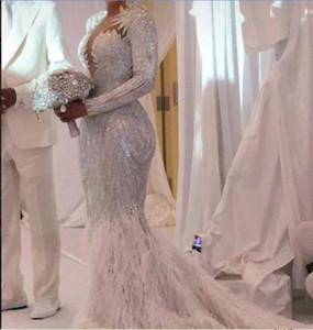Вечернее платье Юсеф aljasmi Ким Кардашян с длинным рукавом v-образным вырезом Кристалл перо orstrich Русалка длинное платье Алмода Зуха gianninaazar Ziadnakad