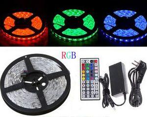 5 متر dc12v rgb led قطاع ضوء لمبة smd 5050 ip65 ماء 300leds متعدد الألوان للتغيير شريط مرنة الشريط + 44 مفاتيح الأشعة تحت الحمراء البعيد + محول