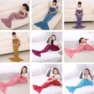 13 Farben 140 * 70cm Kinder handgemachte gestrickte Mermaid Decken Mermaid Schwanz Decke Crochet Decke Wurf Bett Wrap Schlafsack IC860