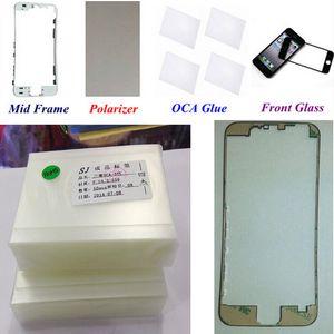 Lente de repuesto de cristal LCD frontal exterior + pegamento OCA + película polarizador + soporte LCD de bisel de medio marco para iphone 6 6s