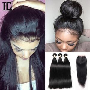 HC cabelo 4x4 peruano lace closure com 3 pacotes de seda em linha reta cabelo humano com fechamento cabelo virgem peruano com lace closure