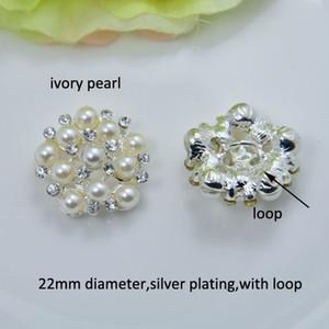 (J0321) döngü ile 22mm çap zarif rhinestone metal düğme, fildişi inci veya saf beyaz inci, 100 adet / grup