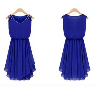 Chiffon Kleid Sommer Kleid Chiffon Kleid Hot Womens Sommer Elegant Set Auger und reine Farbe Condole Gürtel Kleid Fashion Womens V-Ausschnitt und W