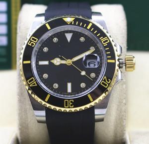Новый бренд 116610 116610LV Дата керамическая рамка 40 мм из нержавеющей стали и 18-каратного желтого золота с бриллиантом Автоматические механические мужские часы Мужские часы