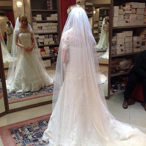 Best Selling White / Marfim Long Nupcial Veil Tule Simple Wedding Veil para Church 2021 Nova Chegada
