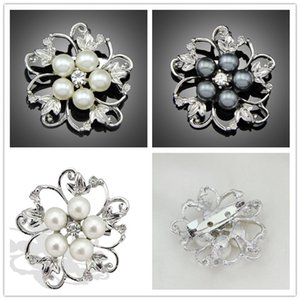 2015 New Fashion Zinc Alloy Flower Pearl Brooches women collar brooch crystal collar pins Jewelry 3 colors