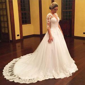 Vintage taglie forti abiti da sposa con perline perla Per russo Appliques di Tulle manica lunga Puffy Principi Applique del merletto Abiti da sposa