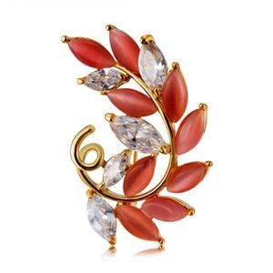 Venta al por mayor de alta calidad Neoglory Jeweley señora Olive Leaf Zircon Broches para mujeres chapado en oro Envío de la gota BC-0002