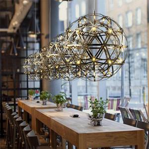 Moderne rainmond feuerwerk pendelleuchten bar licht led edelstahl kugel pendelleuchte für bar / restaurant lamparas lustre