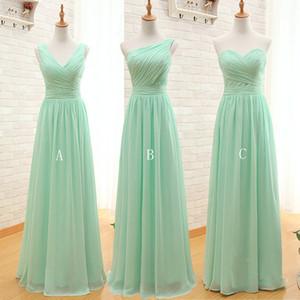 Menta verde largo de la gasa vestido de dama de 2020 Una línea de plegado de la playa vestidos de dama criada del huésped de la boda Vestidos
