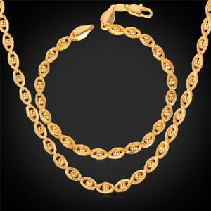Unisexe 18K Réel Plaqué Or New Trendy Or Petites Perles Fantaisie Parti Chaîne Bracelet Collier Ensemble