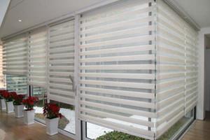 Nach Maß Durchlässiger Roller Zebra Jalousien in White Linen Vorhänge für Wohnzimmer 30 Farben sind vorhanden