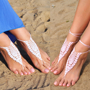 Boda de la playa Crochet Pink Descalzo Sandalias, Zapatos Sexy para mujer, Playa Mujeres Verano Descalzo Sandalias 13 color