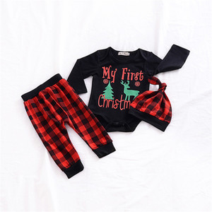 INS Conjuntos de ropa navideña Baby Boys Girls Long Sleeve Letter Romper + Pants + Hats Outfits 3pcs Sets Christmas Tree Elk Plaid Cartoon Cloth