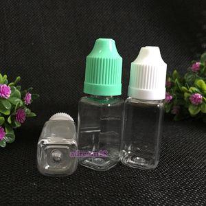 Nouveau bouteille de goutte-gouttes de plastique liquide CLEAR Bouteilles carrées vides avec bouchon de sécurité pour enfants pour Ejuice 10ml DHL Livraison gratuite