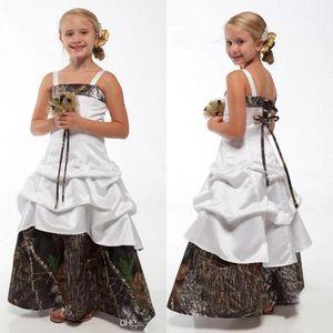 Schöne Camo Blumenmädchenkleider für Hochzeit Spaghetti Camouflage Prinzessin Junior Brautjungfer Kleider Neue Kinder Geburtstag Kleider BA1784