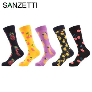 Wholesale- SANZETTI 5 pair/lot Men's Funny Colorful Combed Cotton Socks Fruit Argyle style Dress Casual Crew Socks Happy Socks Wedding Gift