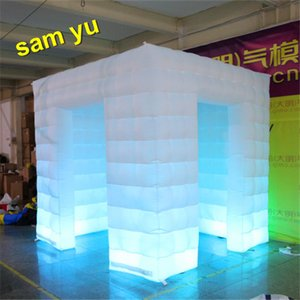 renkli led ile yüksek kaliteli şişme fotoğraf standı Şişme Küp Photo Booth düğün için çadır ışıkları