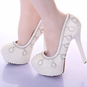 New Arrived White Pearl Bridal Wedding Dress Shoes Rhinestone Fashion High Heels Shoes Round Toe Lady's Party Proms Shoes