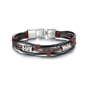 Moda Multi-Layer Genuine Leather Man Pulseras Casual / Sporty aleación fácil Hook Link Chain Men Jewelry 855
