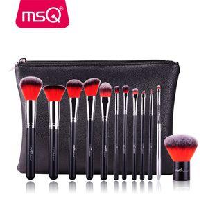 MSQ 12pcs Maquillage Pinceaux teint poudre fard à paupières Make Up Brush Professional Cosmetics outil de beauté avec étui en cuir PU