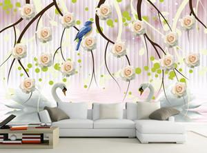 papel pintado flor Swan Lake moda rosa patrón de papel tapiz 3d moderna
