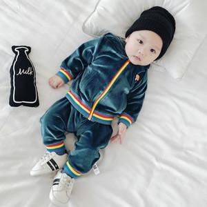 Ternos do bebê 2 pcs Roupas Longas + Calças Menino Menina Pleuche Roupas Macias e Quentes para o Bebê Criança Infantil Rosa Azul Marinho Da Criança Define 6 M-3 T
