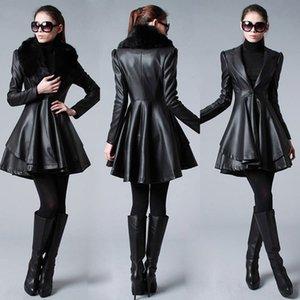 Реальные изображения дешевые верхняя одежда пальто черный новых женщин мода меховой воротник и длинные секции кожаные пальто куртки длинные секции пышные Y-11