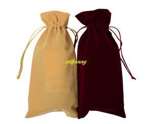 100pcs / lot transporte rápido de alta qualidade 16 * 38cm Flannelette Red Wine Bottle Bag Garrafa Covers presente pacote Bag