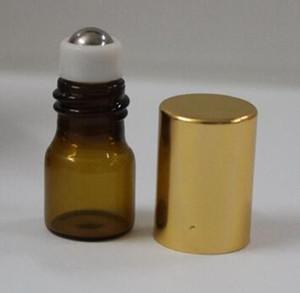 vape 1m 리필 가능 앰버 브라운 MINI 롤러 볼 글라스 향수 필수 오일 볼 스틸 금속 미니 롤러 볼 병 무료 배송