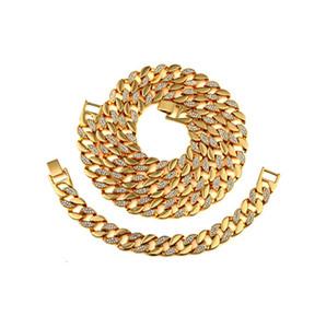 Новый браслет ожерелья людей ожерелья + браслет Rhinestone CZ каблука способа ювелирных изделий способа ожерелья + браслет Hip Hop шарма с красивейшей коробкой подарков