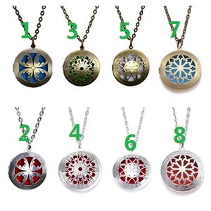 """Mixed order 4 style 24"""" With Chain Pads Round Aromatherapy Lockets Pendants Perfume Essential Oil Diffuser Locket Necklace"""