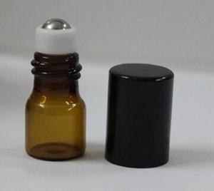 Mini 1ml braunes bernsteinfarbiges Glas rollen auf ätherischem Öl Parfüm Flasche Edelstahl Glas Roller Ball mit Splitter Gold schwarz Kappe Großhandel