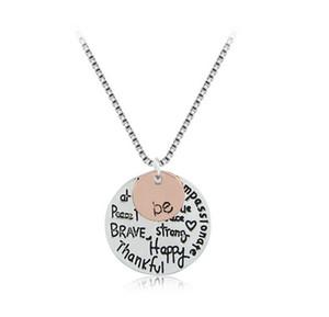 Vendita al dettaglio Collana placcata oro rosa moda ciondolo a mano Be Happy Necklace Collana con incisione moneta carina per gioielli da donna