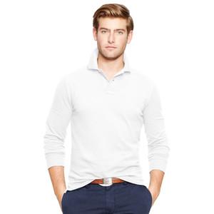 2017 가을 새로운 큰 작은 말 악어 폴로 셔츠 남성 자 수 럭셔리 캐주얼 슬림 맞는 유행 티셔츠 긴 소매 옷깃 셔츠