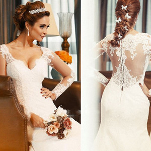 Princess Vintage Style Mermaid Lace Wedding Dresses Long Illusion Sleeve V-Neck Sweep Train Simple Design Bridal Gowns W454 Transparent