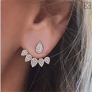Orecchino a perno a doppia faccia per le donne Piercing Earing Jewelry Fashion Argento a forma di orecchini a forma di goccia d'acqua con strass