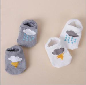 Bebês Meias Bonito Relâmpago Nuvens De Algodão Não-slip Meias Curtas Para Crianças 0-4 T 15057