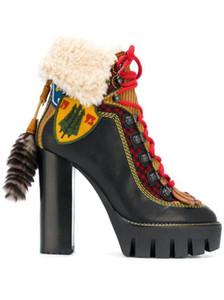 Del progettista di marca alte di pelliccia piattaforma Stivali caldi per le donne Mixcolor Winter Snow Boots Female