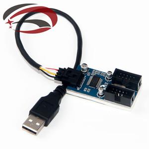USB мужчина к внутреннему 2-портовый Dupont 9Pin мужской адаптер конвертер Splitter PCB разъем удлинитель кабель чипсет внутри 20 см