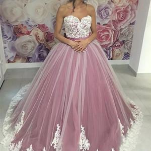 Elegante roxo Quinceanera Vestidos Bola Vestidos Sweetheart Appliques Lace Sweet 16 Dress Plus Size Vestidos de Noite Formal