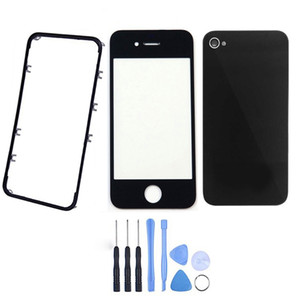 Front Glass Lens + Front Frame Bezel + Battery Door Cover Housing + Tool Kits for iPhone 4 4G 4S LCD Touch Screen Outer Panel Digitizer