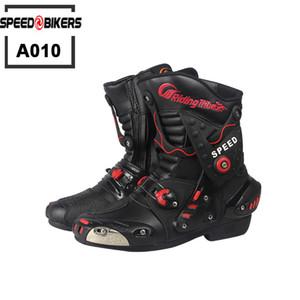 Motocicleta Calzado Tribe Tribe Microfibra Faux Cuero Botas de Motocicleta Profesional Racing Moto Boot, Zapatos de alta calidad A010