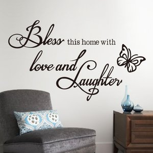 Love Laughter Butterfly Butterfly Quote 8386 Sticker murale Hoom Decor Vinyl Art Decalcomanie smontabili Murale Drop Shipping