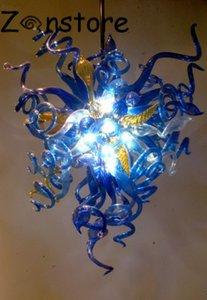 오션 블루 샹들리에 - 예쁜 푸른 색 불어 유리 샹들리에 빛 LED 전구 유리 펜던트 램프 미술 유리 샹 들리