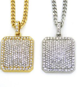 Hip Hop Necklace Gold Plated water Diamond Bling Square Card Pendant Cuban Chain
