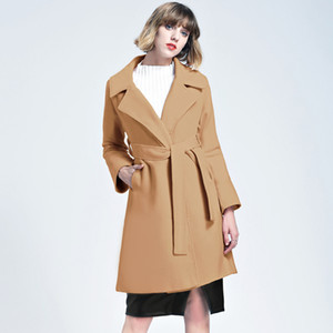 2018 New Fashion Elegant Lady Khaki Oversized Quilted Woolen Coat with Belt manteau femme European Simple Outerwear FS3151
